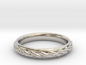 Ring with barbed wire in Rhodium Plated Brass