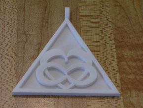 Triangle Infinity Heart Pendant in White Natural Versatile Plastic