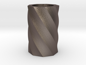 Twisted polygon vase in Polished Bronzed Silver Steel