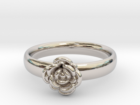 Ring with a rose in Platinum