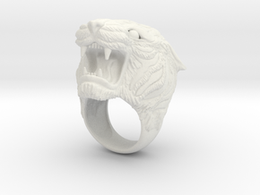 Tiger ring in White Natural Versatile Plastic