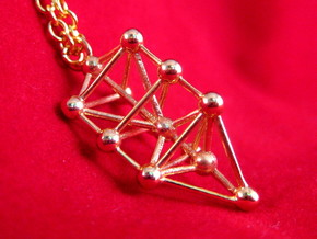 Small Triangular Tree of Life Pendant in 18k Gold Plated Brass