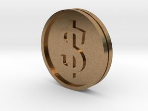 €/$ Coin - Euro Dollar Coin in Natural Brass