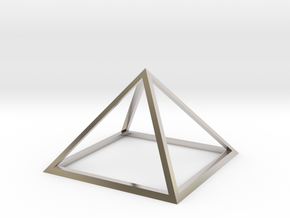 3D Wireframe Pyramid in Rhodium Plated Brass