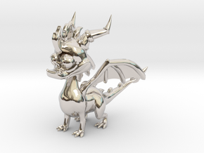 Spyro the Dragon - 5cm Tall in Rhodium Plated Brass