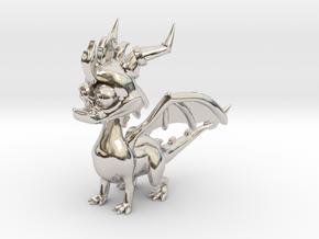 Spyro the Dragon - 5cm in Rhodium Plated Brass