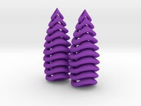 Tetron-earrings in Purple Processed Versatile Plastic: Small