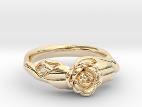 Ring with a rose on a branch in 14K Yellow Gold