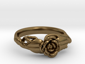 Ring with a rose on a branch in Natural Bronze