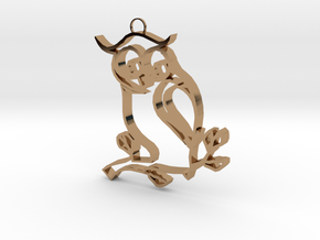 Owl On A Limb in Polished Brass