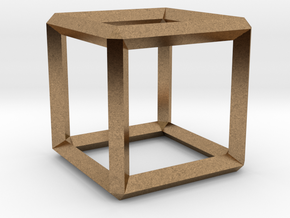 Cube wireframe in Natural Brass