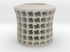 Square holes vase in Natural Sandstone