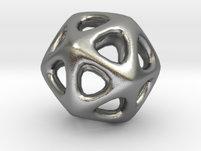 Icosahedron - 2.3cm in Natural Silver