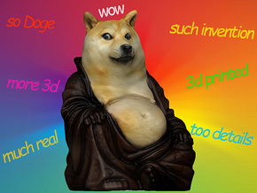 Doge Buddha in Full Color Sandstone