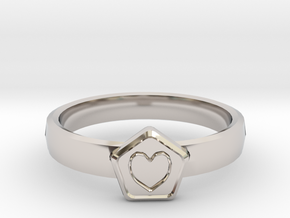 3D Printed Bond What You Love Ring Size 7  in Rhodium Plated Brass