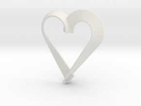 Heart Shaped Pendant in White Natural Versatile Plastic