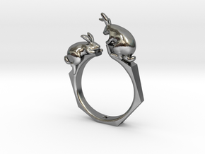 Rabbit Ring in Polished Silver: 4 / 46.5