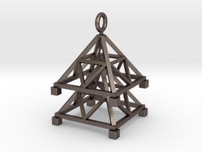 Tetrahedron Jhumka - Indian Bell earrings in Polished Bronzed Silver Steel