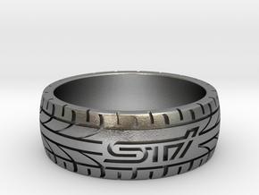 Subaru STI ring - 20 mm (US size 10) in Natural Silver