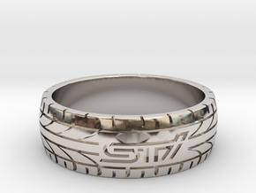 Subaru STI ring - 22 mm (US size 13) in Platinum