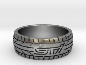 Subaru STI ring - 21 mm (US size 11 1/2) in Natural Silver
