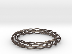 Twist Bangle A02M in Polished Bronzed Silver Steel