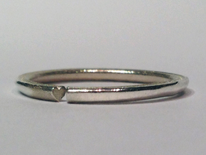 Secret Hidden Heart Ring for introverts! (sz 5.25) in Polished Silver