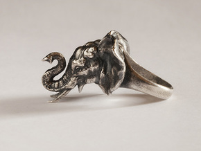 Elephant Ring in Natural Silver: 6 / 51.5