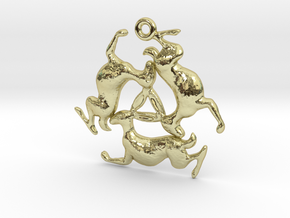 Three Hares Pendant in 18k Gold Plated Brass