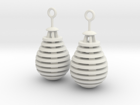 Pear/Teardrop Earrings in White Natural Versatile Plastic
