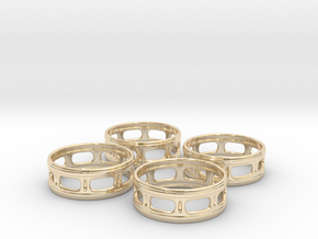 Windowed Napkin Rings (4) in 14k Gold Plated Brass