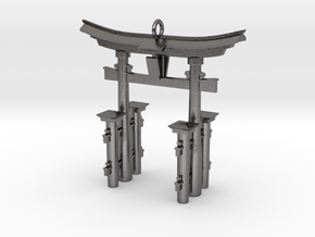 Torii Gate Pendant / Keychain in Polished Nickel Steel
