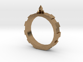 Gem-gear Ring in Natural Brass