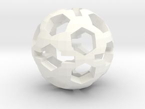 Hexball in White Strong & Flexible Polished
