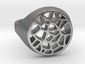 Bague Voronoi en Javascript in Natural Silver