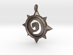 Hearthstone Pendant in Polished Bronzed Silver Steel