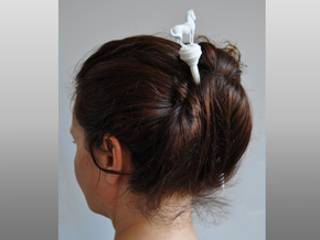 Hairstick with Horse (large size) in White Strong & Flexible