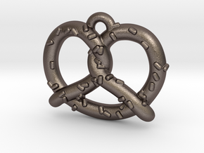 "Pretzel Pendant 1"" in Polished Bronzed Silver Steel"