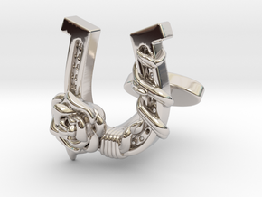 Luck N Roses Cufflinks Single Rose in Rhodium Plated Brass