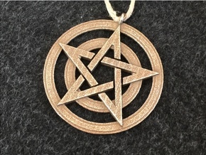 Pentacle Pendant - Circles in Polished Bronzed Silver Steel