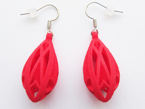 Teardrop shaped earrings in Red Processed Versatile Plastic