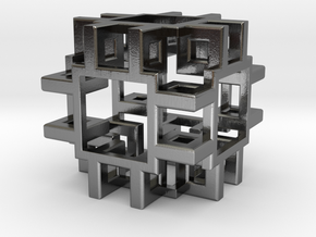 Squared Cubic Small in Polished Silver