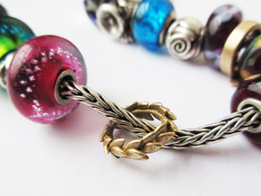 Laurel crown charm, Trollbeads compatible in Natural Brass