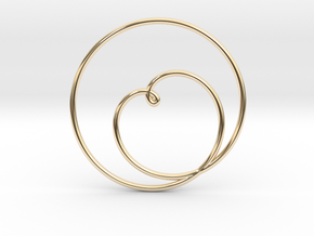 Heart Circular Pendant in 14k Gold Plated Brass