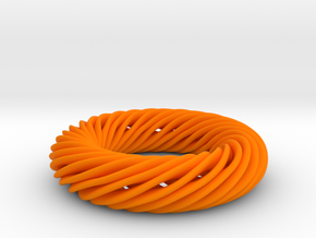 Mobius Torus in Orange Processed Versatile Plastic