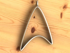 Star Trek pendant in Fine Detail Polished Silver