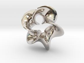Star Flower 2 in Rhodium Plated Brass