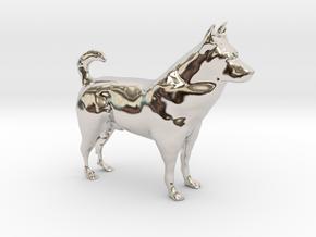 "Shepherd Dog - 5 cm / 2"" in Rhodium Plated Brass"