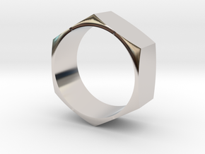 Hex Nut Maker Ring (Size 10.5- 20mm) in Rhodium Plated Brass