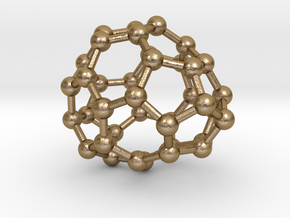 0086 Fullerene c38-5 c1  in Polished Gold Steel